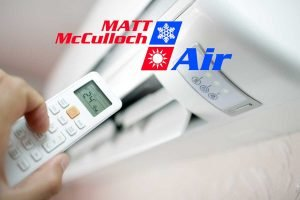 Split system reverse cycle air conditioner with Matt McCulloch Air overlay